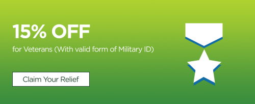 15% off for veterans with valid form of military ID